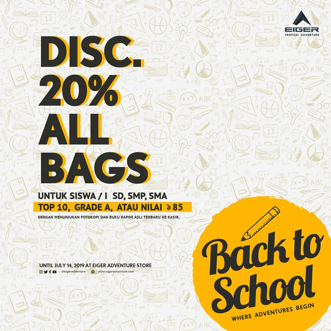 Diskon EIGER PROMO Back To School Discount 20% All Bags