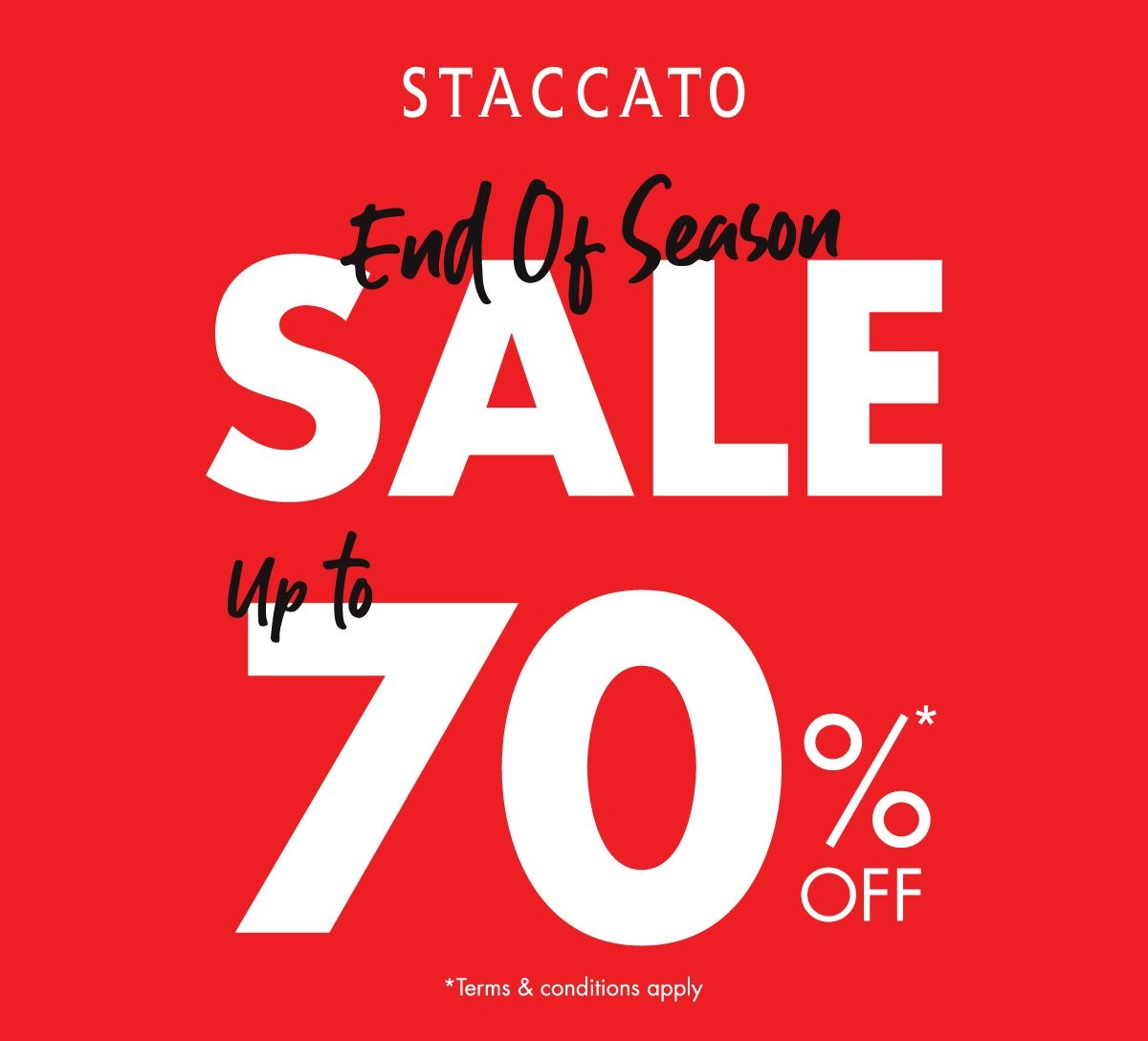 Staccato Promo End Of Season Sale Disc Up To 70% Off