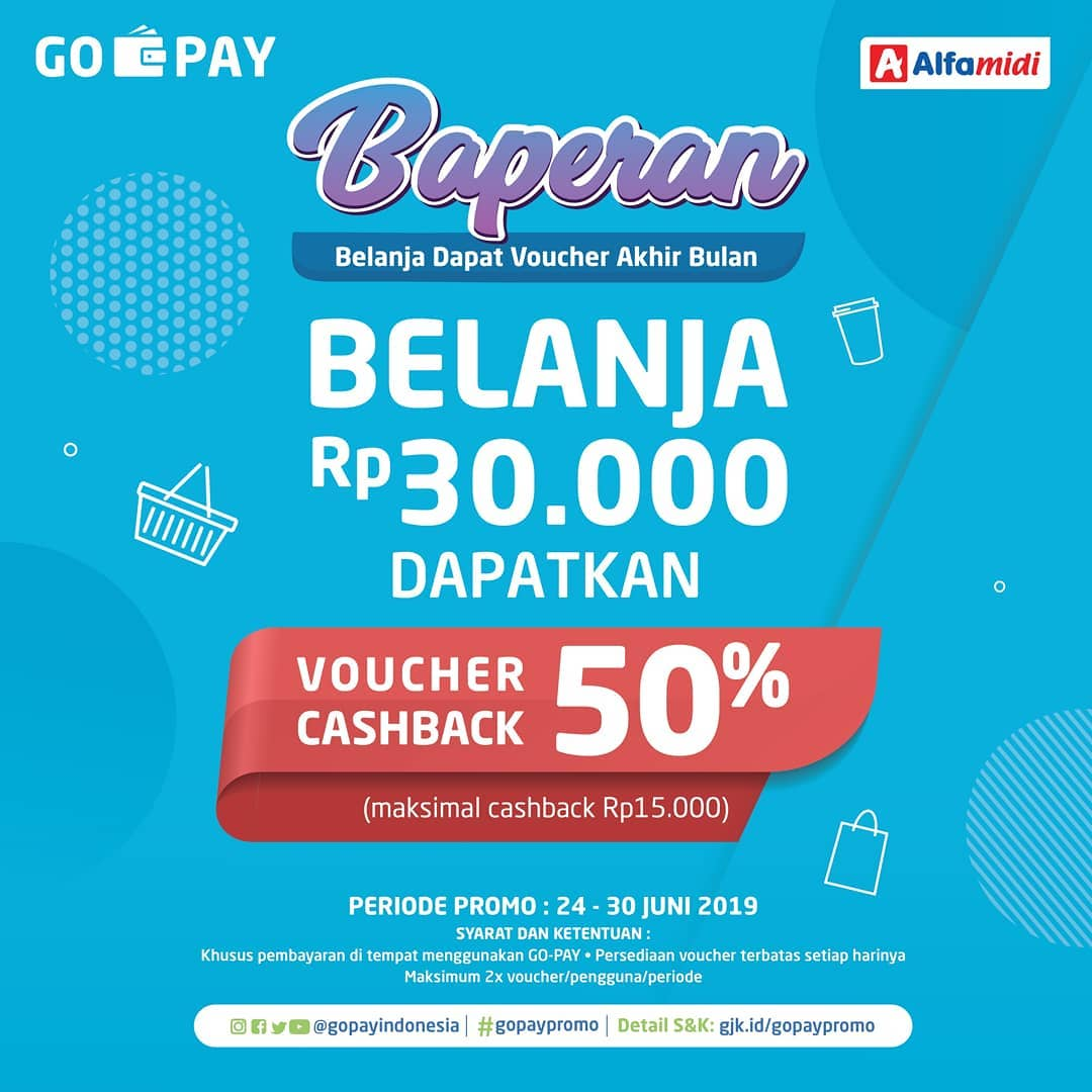 ALFAMIDI Promo Baperan Belanja dan Dapatkan VOUCHER 50% dengan GOPAY