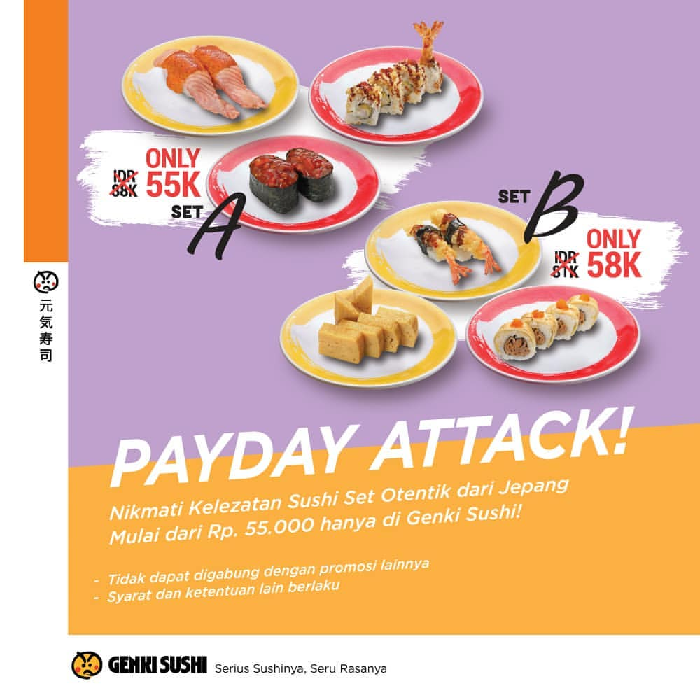 Genki Sushi Payday Time Sushi Set For Only IDR 55K atau 58K