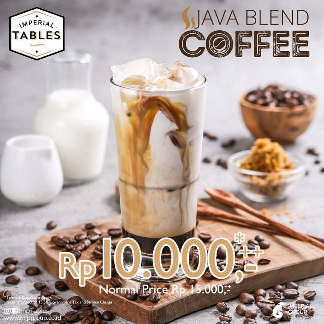 "Diskon Imperial Tables Promo Special Price ""JAVA BLEND COFFEE"" only Rp. 10.000"