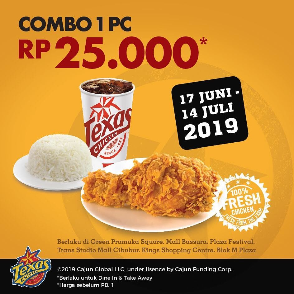 TEXAS CHICKEN Promo Paket Combo 1pc Ayam hanya Rp.25.000