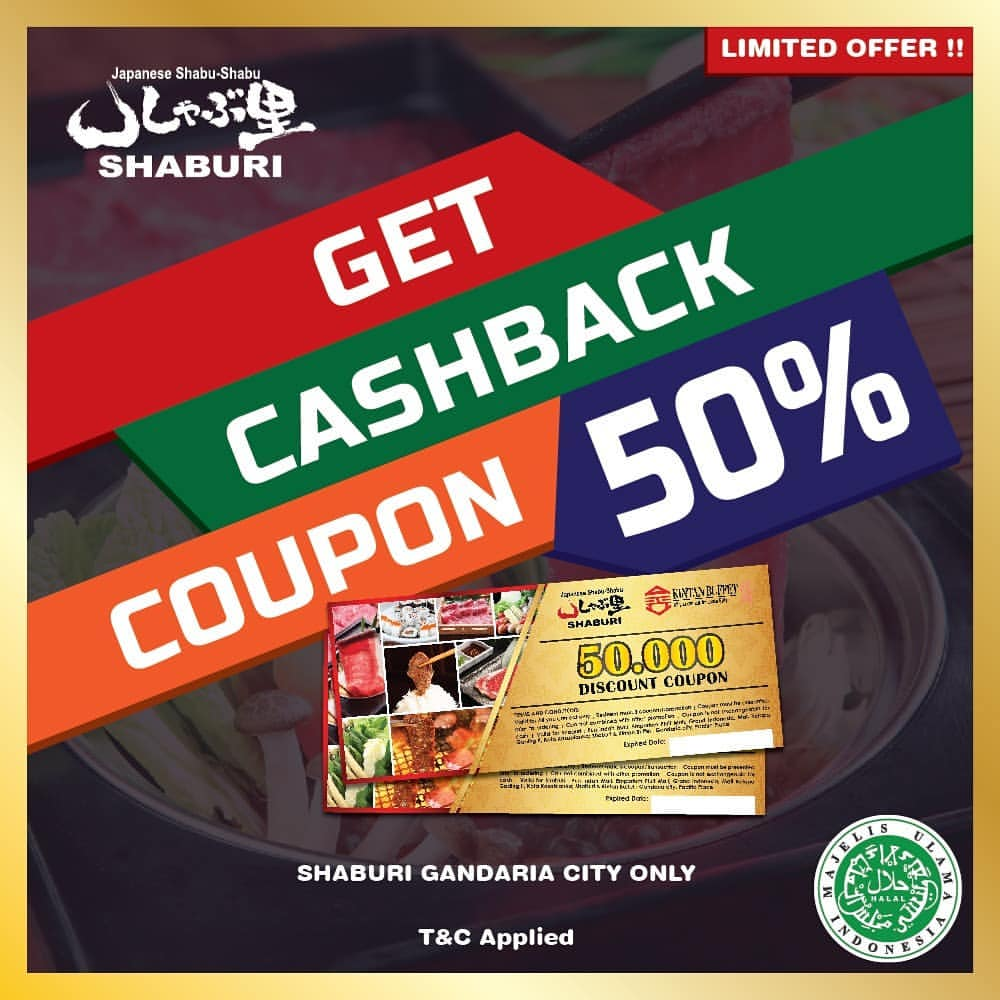 Diskon Shaburi Gandaria City Promo Get Cashback Coupon 50%