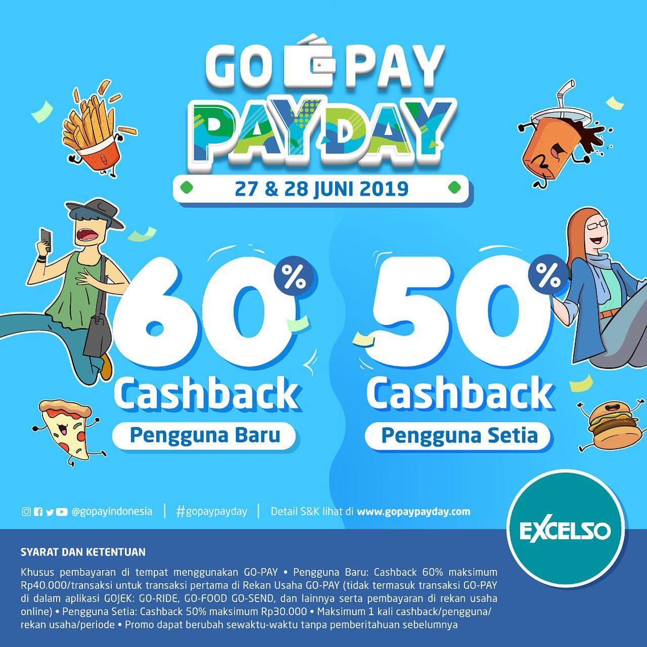 EXCELSO Promo GOPAY PAYDAY CASHBACK hingga 60% dengan GOPAY