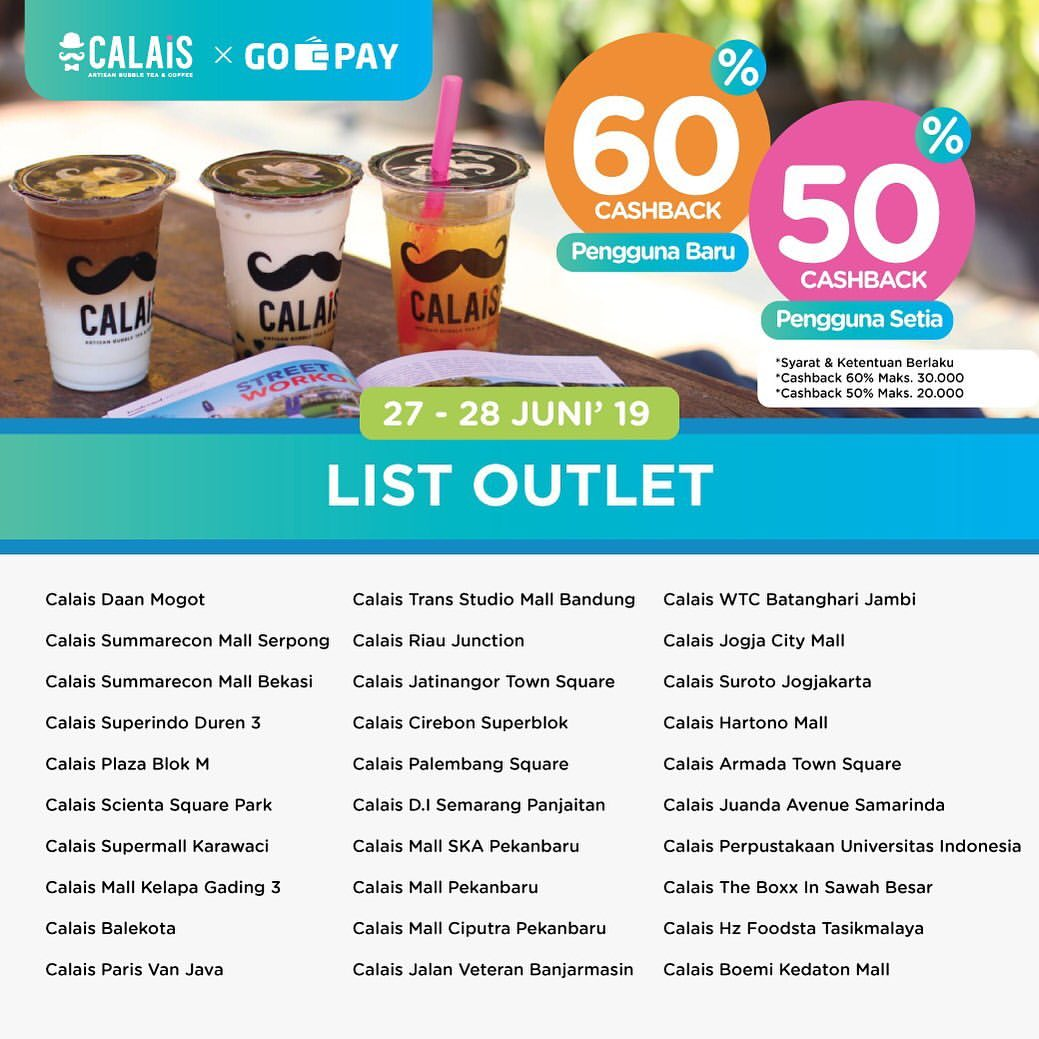 CALAIS TEA Promo GO-PAY PAYDAY, Bayar Pakai Go-Pay Dapat CASHBACK hingga 60%