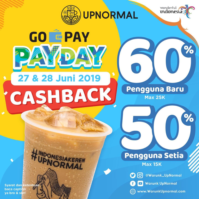 WARUNK UPNORMAL PromoGOPAY PAYDAY, CASHBACK Up to 60% dengan GOPAY
