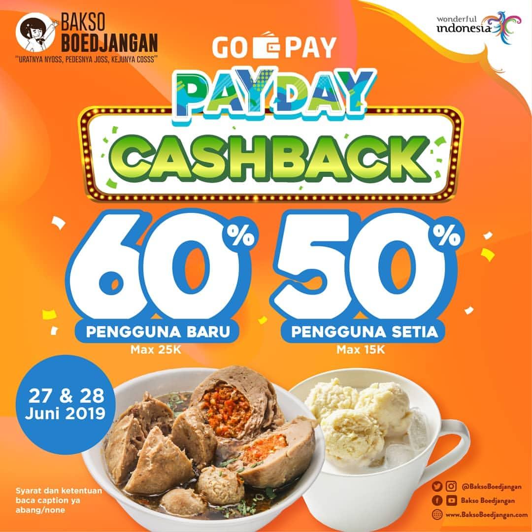 Bakso BoedjanganPromo GOPAY PAYDAY, CASHBACK Up to 60% dengan GOPAY