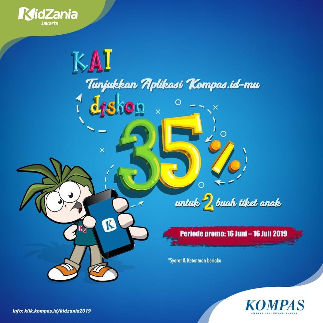 KIDZANIA Promo DISKON 35% Tiket dengan menunjukkan aplikasi KOMPAS.ID