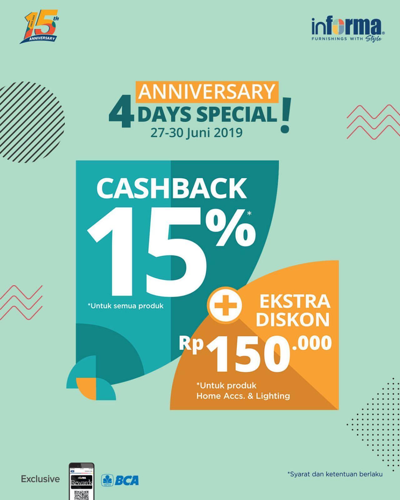 INFORMA Promo Special Anniversary Hanya 4 Hari! CASHBACK 15%