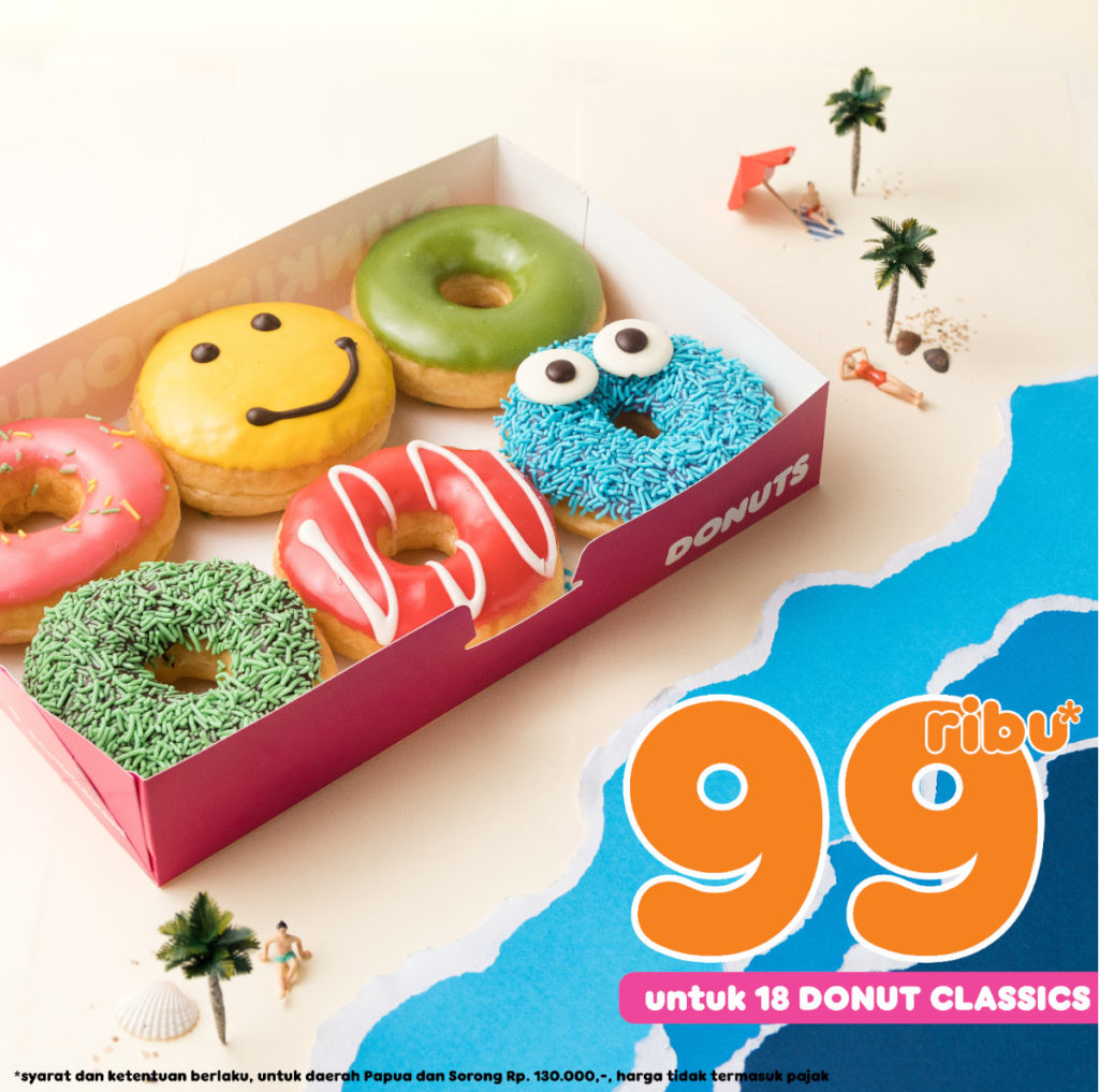 DUNKIN DONUTS Promo 18pcs DONUTS CLASSIC hanya Rp.99.000 dengan KUPON LINE