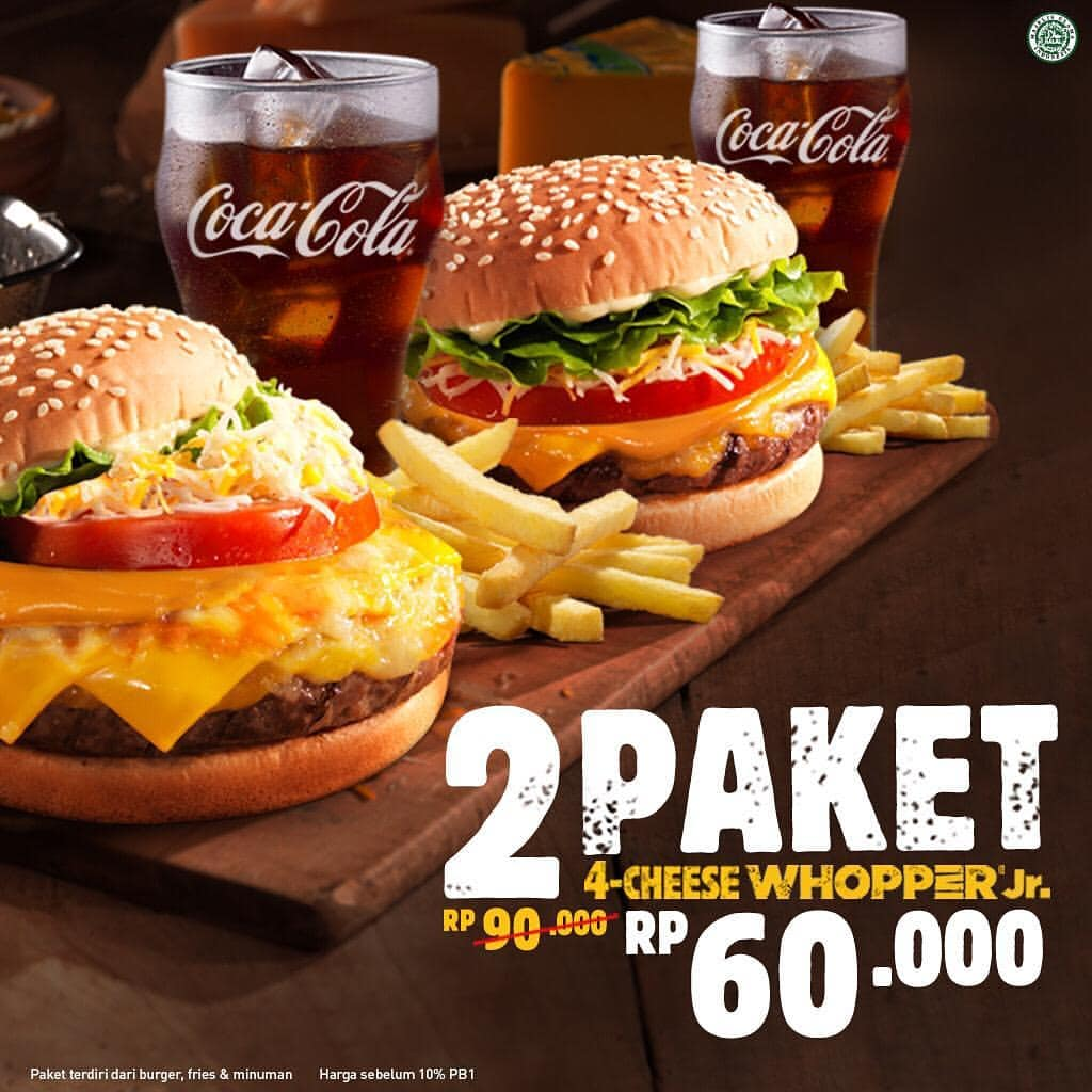 Diskon BURGER KING Promo 2 paket 4 Cheese Whopper Jr cuma Rp.60 ribu