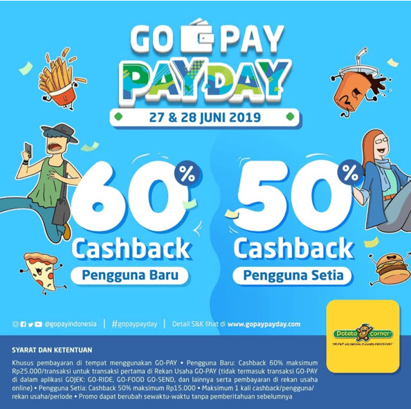 Potato Corner GOPAY PAYDAY Promo, Cashback Up to 60% dengan GOPAY