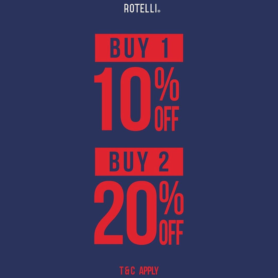 Diskon ROTELLI Promo Buy 1 Disc 10% Off Buy 2 Disc 20% Off