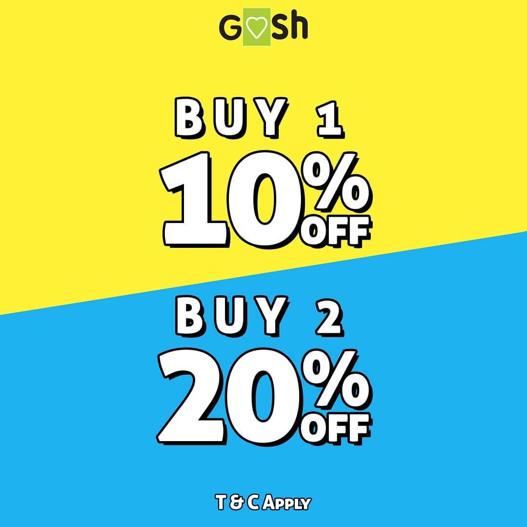 Goshshoes Promo Buy 1 Get 10% off, Buy 2 Get 20% off