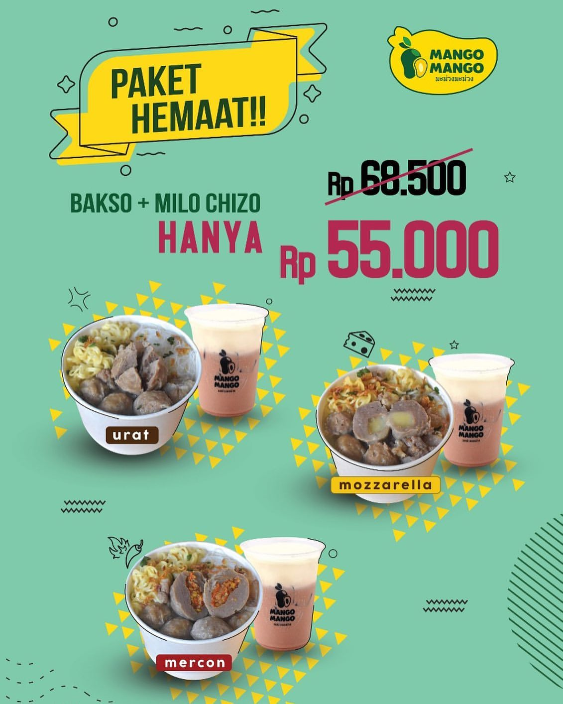Diskon MANGO MANGO Promo PAKET HEMAT BAKSO + MILO CHIZO Hanya Rp.55.000