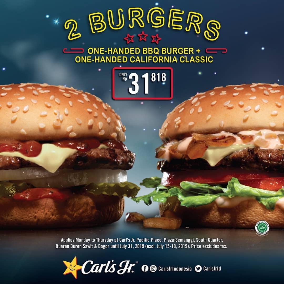 Diskon Carls Jr Promo Paket 2 Burger Hanya Rp.31.818