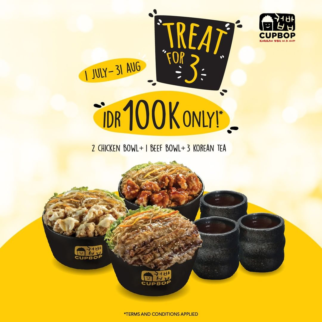 Diskon CUP BOP Promo TREAT For 3 IDR 100 K only