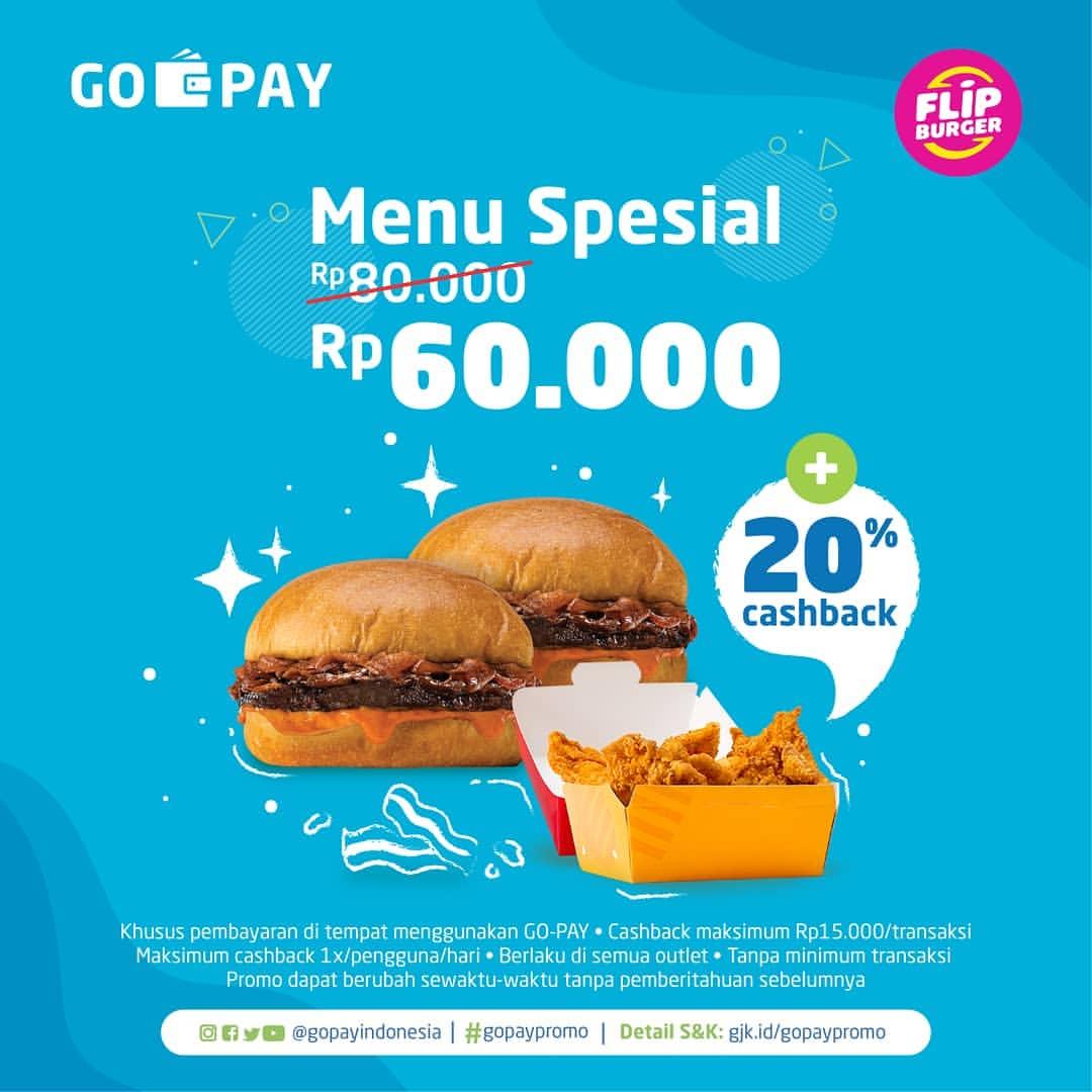 FLIP BURGER Promo HARGA SPESIAL cuma Rp60.000 dan CASHBACK 20% dengan GOPAY