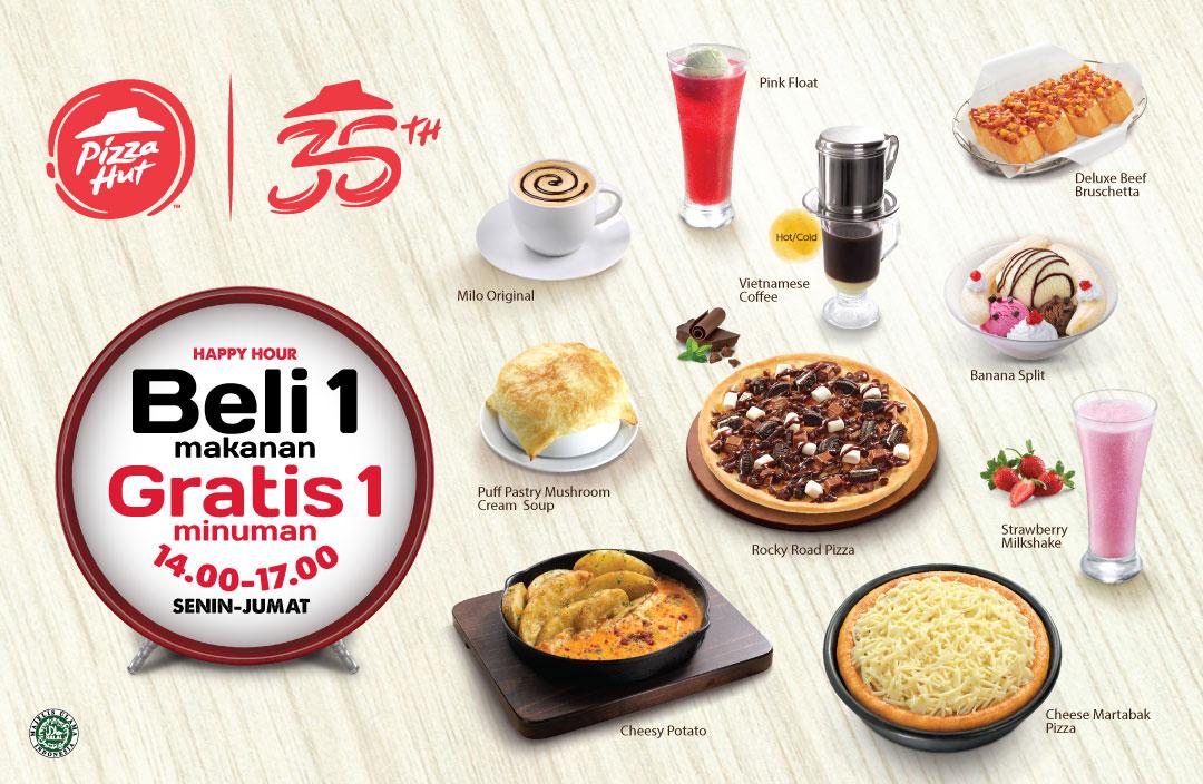 Diskon PIZZA HUT Promo HAPPY HOUR, BELI 1 GRATIS 1 minuman setiap pembelian menu makanan