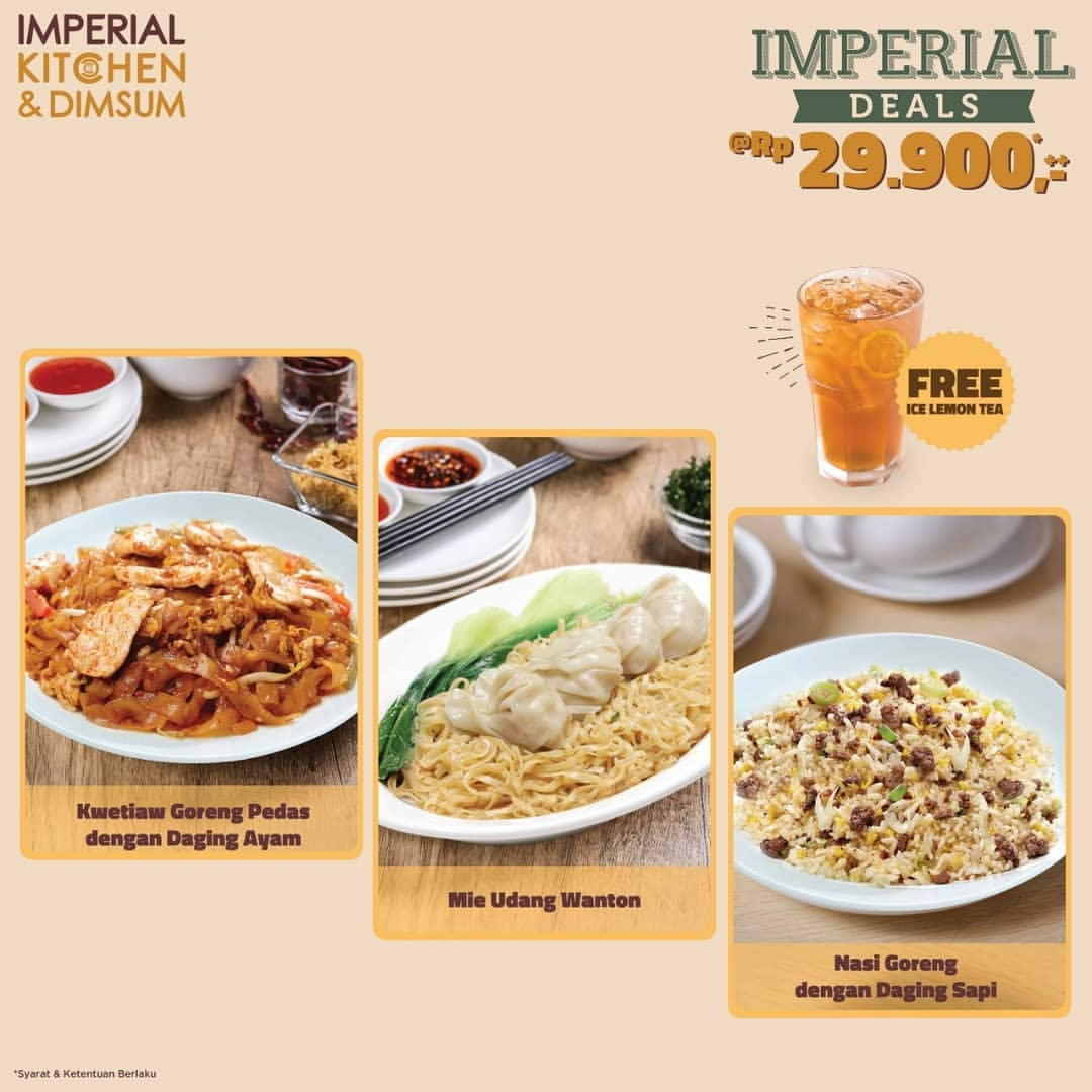 Diskon IMPERIAL KITCHEN & DIMSUM Promo Imperial Deals Hanya Rp.29.900 Free Ice Lemon Tea