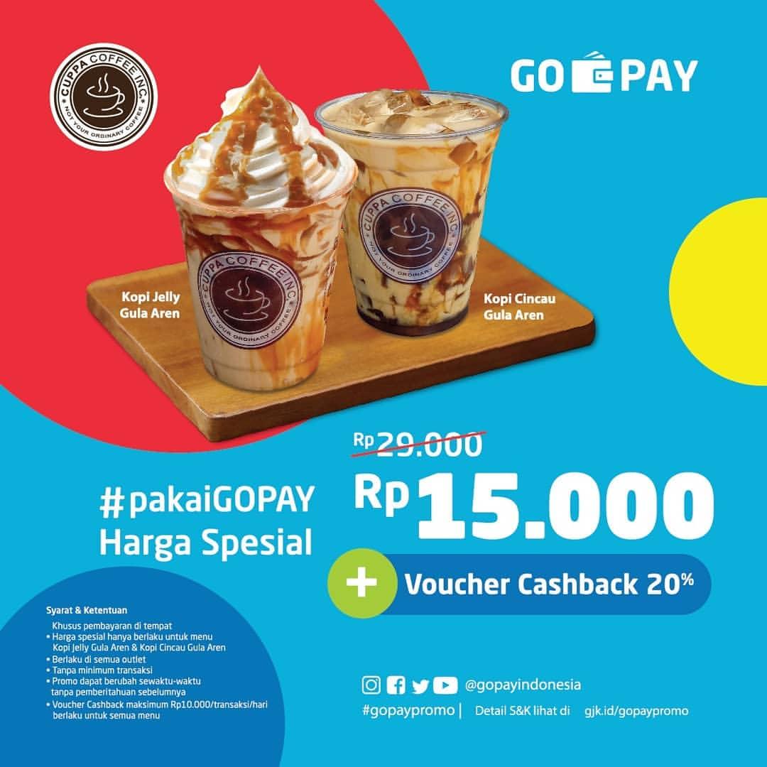 Diskon CUPPA COFFEE Promo HARGA SPESIAL hanya Rp.15.000 + CASHBACK 20% dengan GOPAY