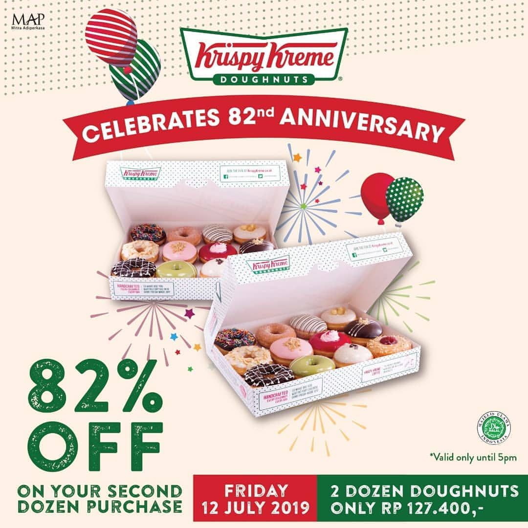 KRISPY KREME 82nd Anniversary Celebrations, Discount 82% OFF of second dozen purchase