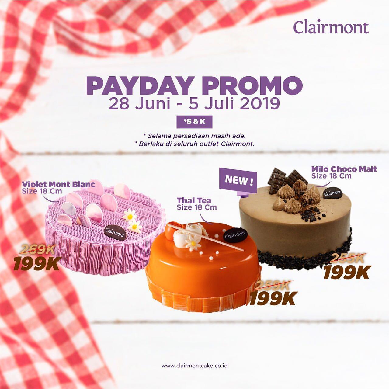 Clairmont Cake Payday Promo, Harga Spesial Cuma Rp. 199.000!