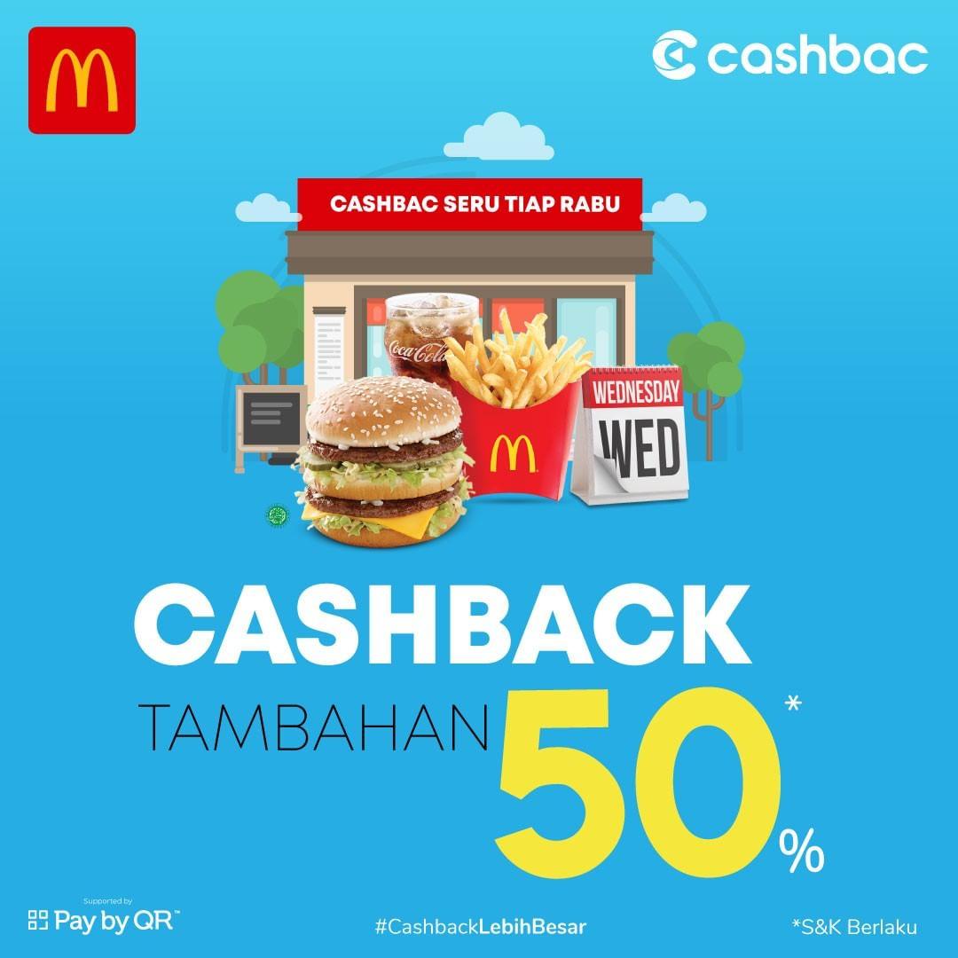 McDONALDS Promo CASHBACK TAMBAHAN 50% dengan CASHBAC APP
