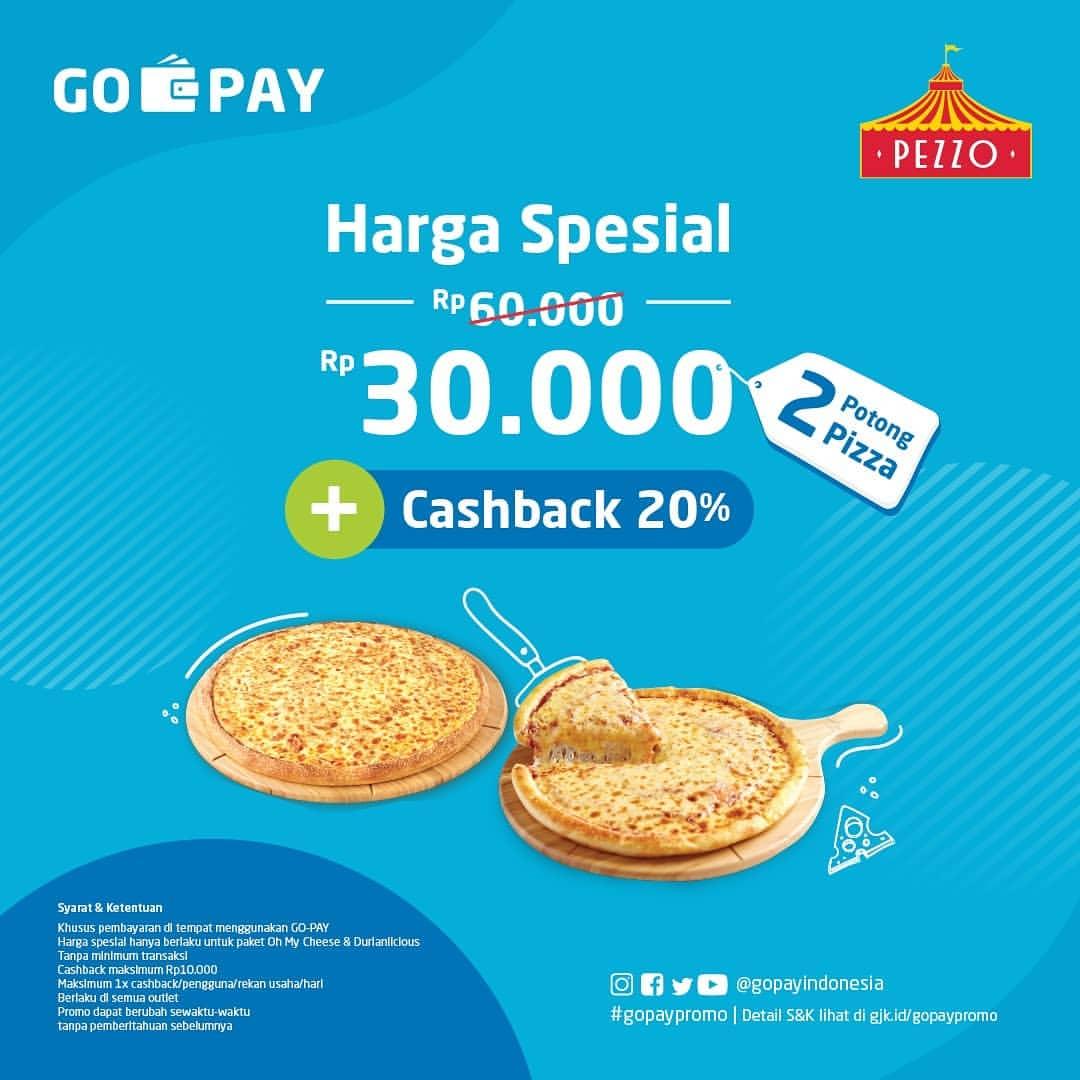 Diskon PEZZO PIZZA Promo HARGA SPESIAL 2 SLICE PIZZA hanya Rp.30.000 + CASHBACK 20% dengan GOPAY