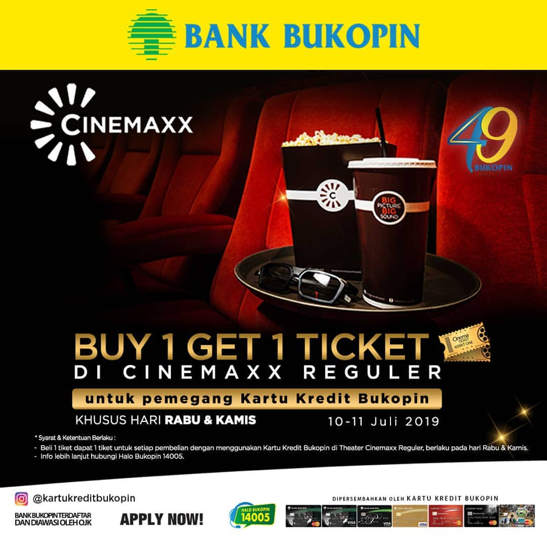 CINEMAXX Promo Buy 1 Get 1 Ticket untuk pemegang Kartu Kredit Bukopin