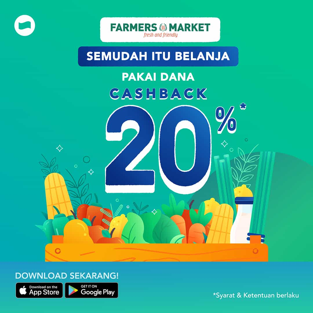 Diskon FARMERS MARKET Promo Cashback 20% dengan DANA