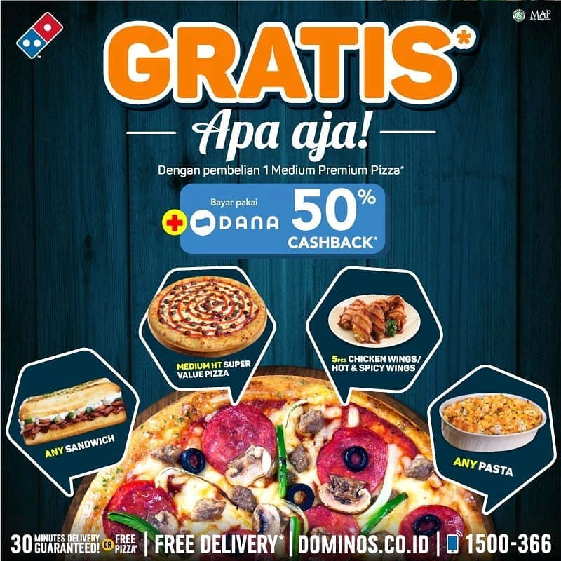 DOMINO'S PIZZA Flash Sale Weekend Beli 1 Medium Premium Pizza GRATIS 1 Menu Pilihan Apa Saja