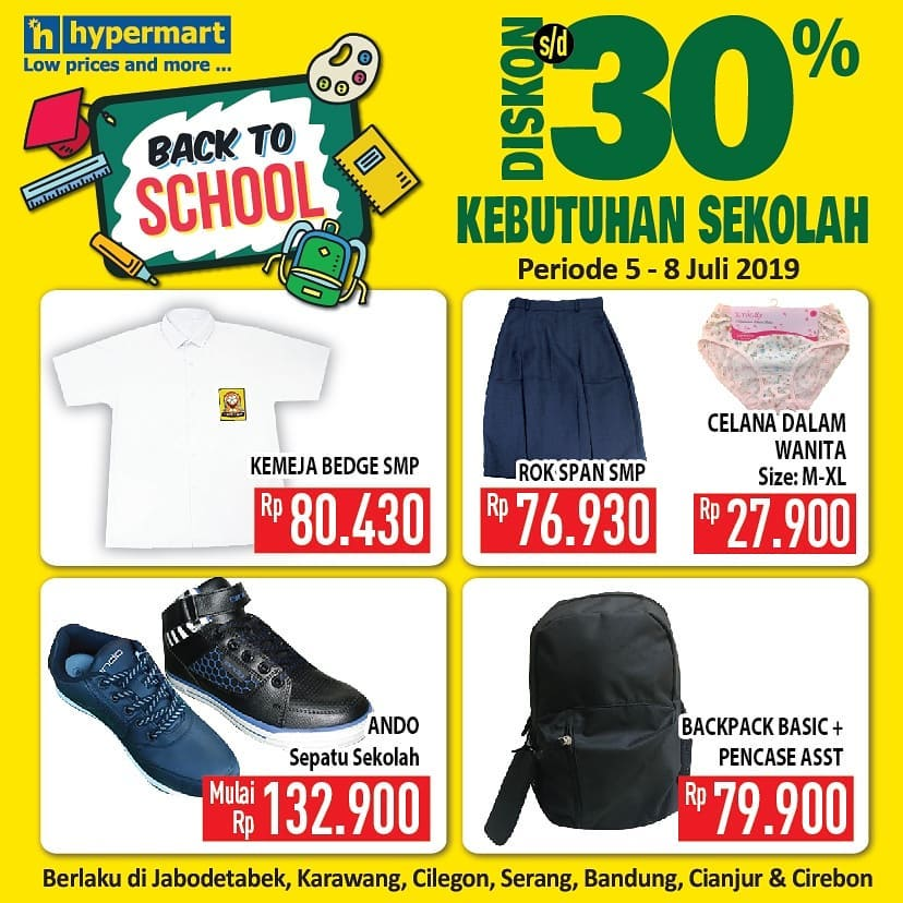 Diskon HYPERMART Promo BACK TO SCHOOL Diskon hingga 30% untuk produk Kebutuhan Sekolah