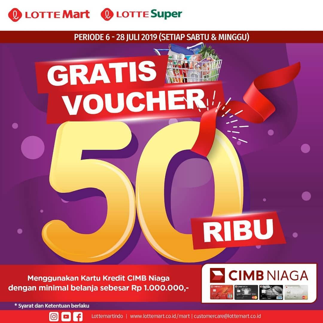 LOTTEMART Promo GRATIS VOUCHER Rp.50.000, dengan KARTU KREDIT CIMB NIAGA