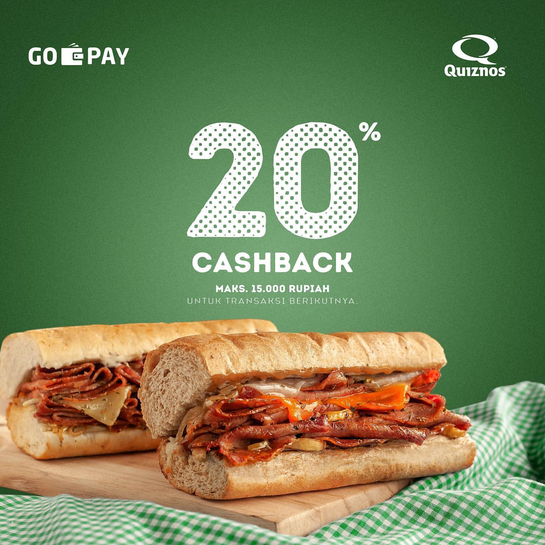 Diskon Quiznos Promo Cashback 20% Pakai GOPAY