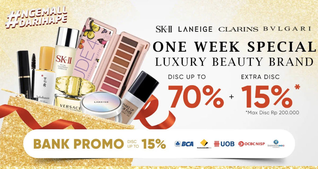 iLOTTE.COM Promo ONE WEEK SPECIAL Luxury Beauty Brand Disc up to 70% + Extra Disc 15%* untuk Produk