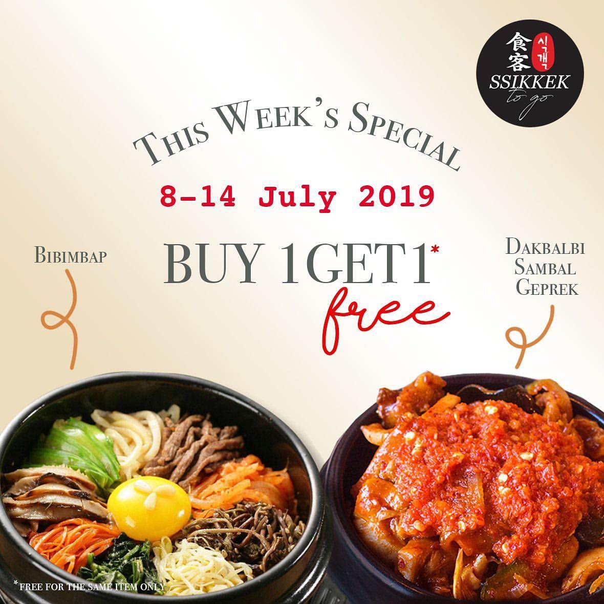 SSIKKEK Korean BBQ & SSIKKEK EXPRESS Promo Buy 1 Get 1 Free Dakgalbi Sambal Geprek & Bibimbap