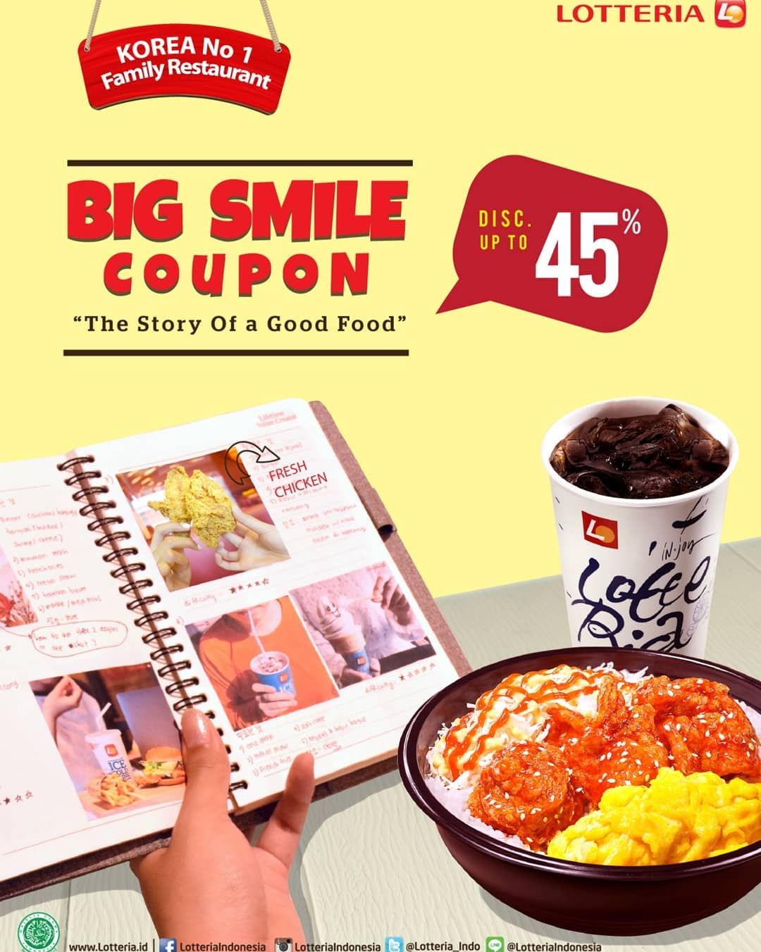 LOTTERIA Big Smile Coupon, HEMAT hingga 45%
