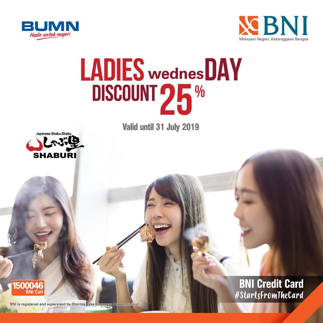 Shaburi & Kintan Buffet LADIES wednesDAY Diskon 25% dengan Kartu Kredit BNI