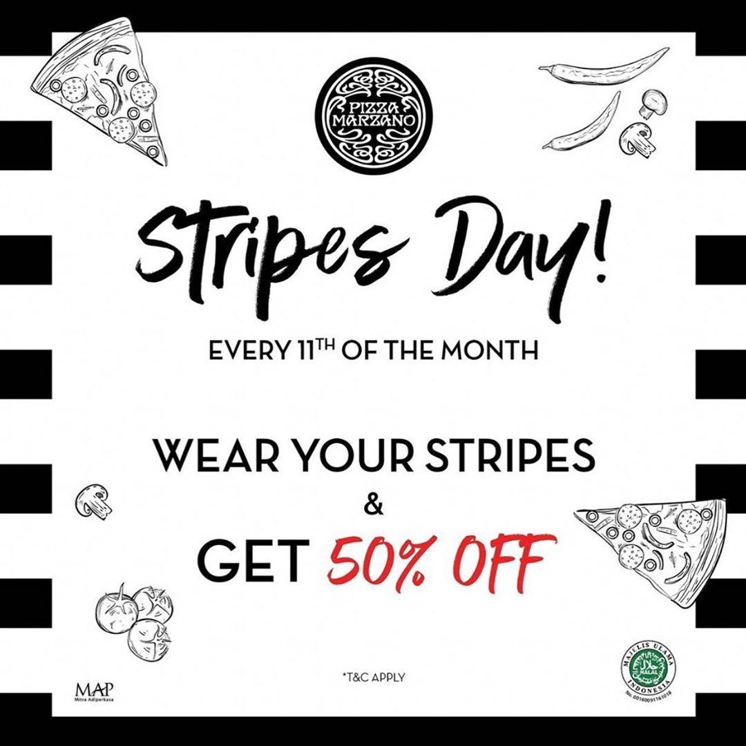 Diskon PIZZA MARZANO Stripes Day Gunakan Baju dengan Motif Garis-Garis dan nikmati Diskon Spesial 50% off