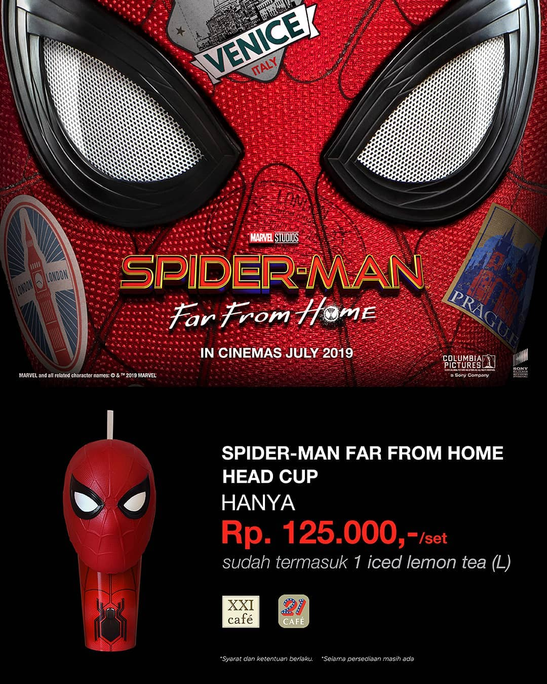 XXI CAFE Promo Special Limited Spiderman : Far From Home Head Cup