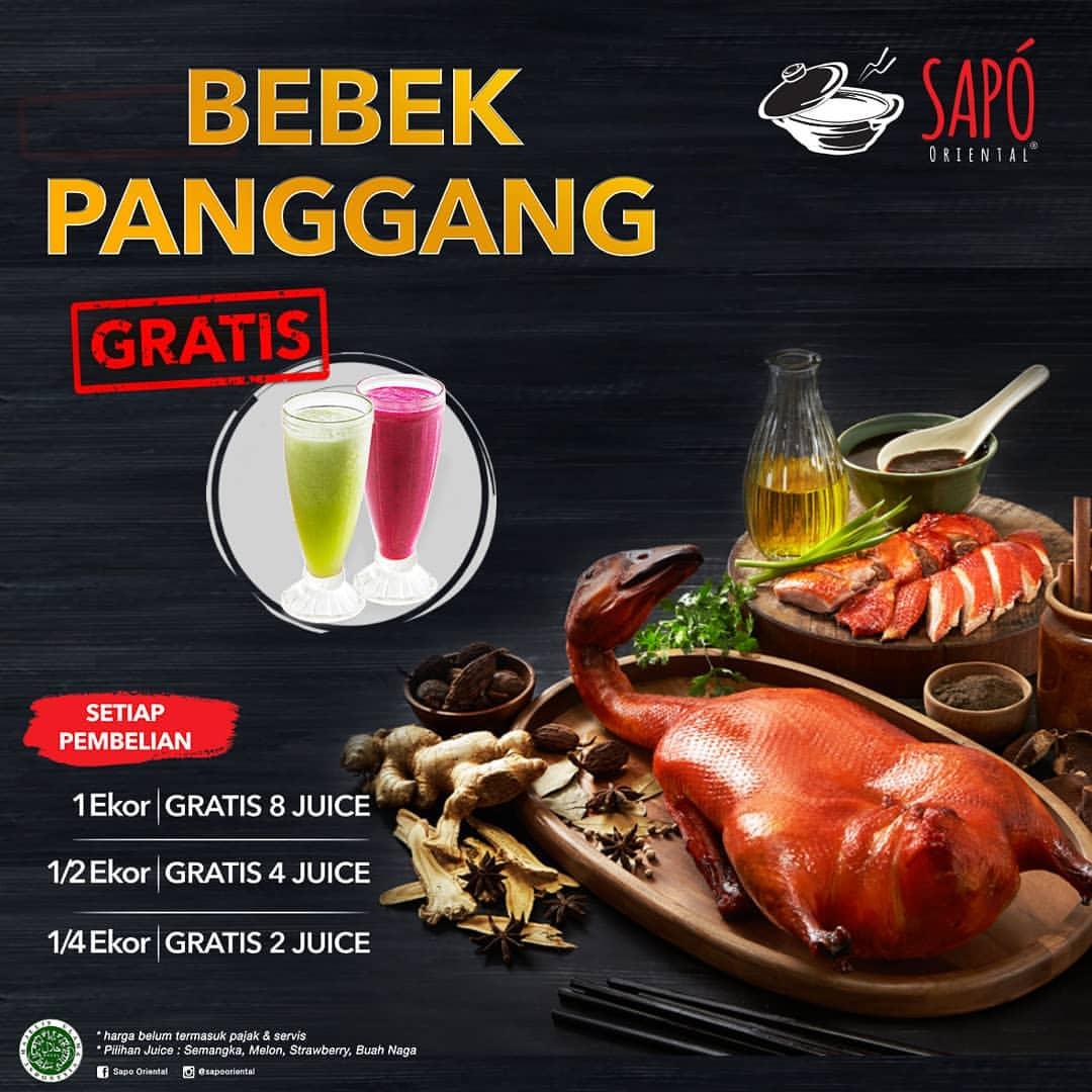 Diskon SAPO ORIENTAL Promo Beli Bebek Panggang GRATIS Juice