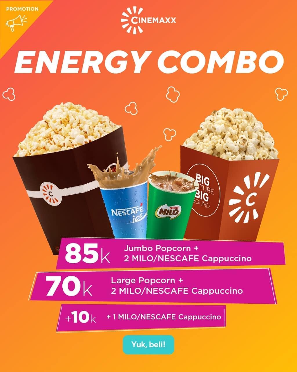 CINEMAXX ENERGY COMBO Paket Popcorn ukuran large + 2 minuman hanya Rp.70.000
