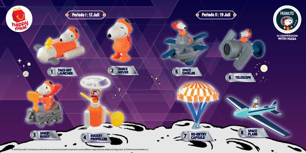 McDONALDS Promo HAPPY MEALS! Miliki KOLEKSI Mainan Happy Meal Snoopy Discover Space