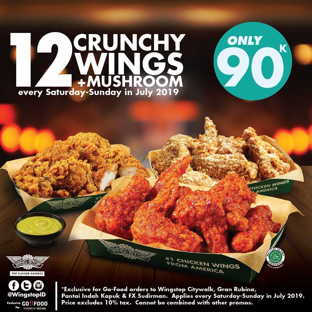 WINGSTOP Promo 12 Crunchy Wings + Mushroom Fritters hanya Rp. 90.000, khusus Via GoFOOD
