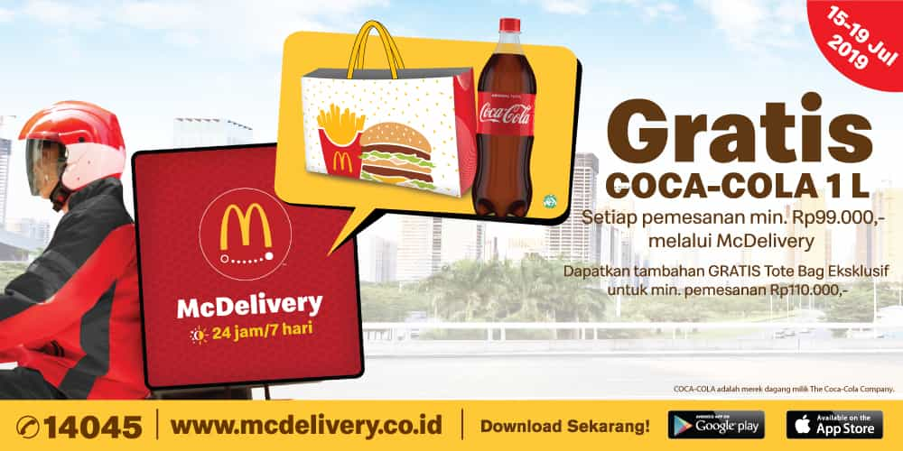 Diskon McDonalds McDelivery Day GRATIS Coca-Cola PET 1 liter, khusus pemesanan via McDelivery