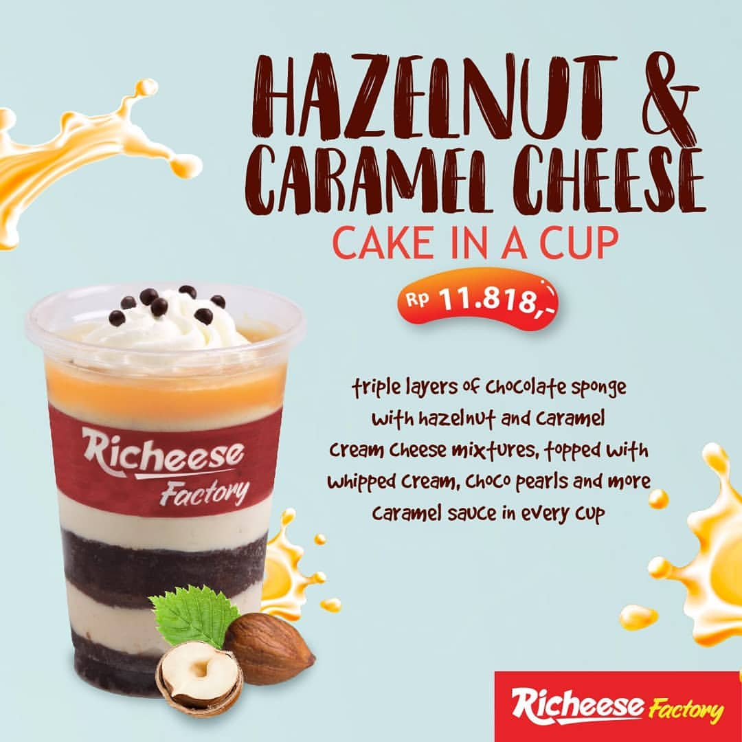 RICHEESE FACTORY NEW Hazelnut & Caramel Cheese Cake in a Cup Harga mulai Rp.11.818