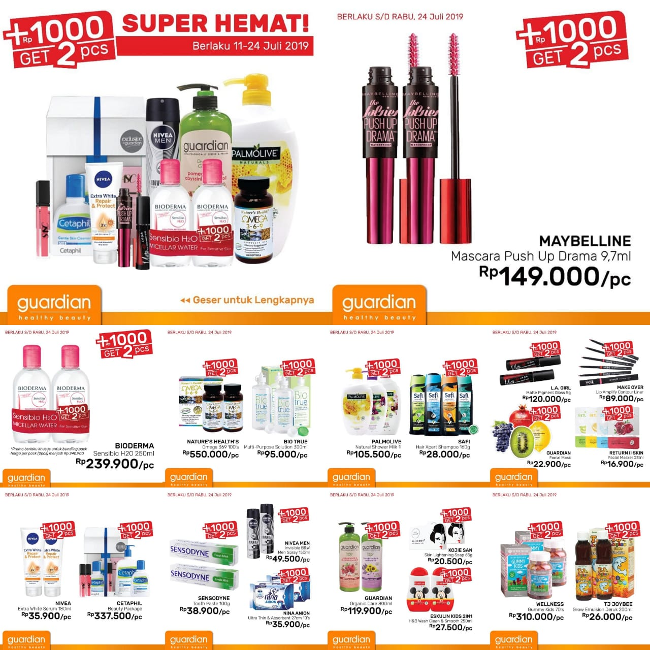 Katalog Promo Guardian Promo Rp.1.000 Dapat Dua Periode 11-24 Juli 2019