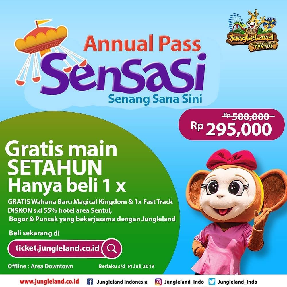 Diskon Jungleland Promo Annual Pass, MAIN SETAHUN PENUH HANYA Rp. 295.000