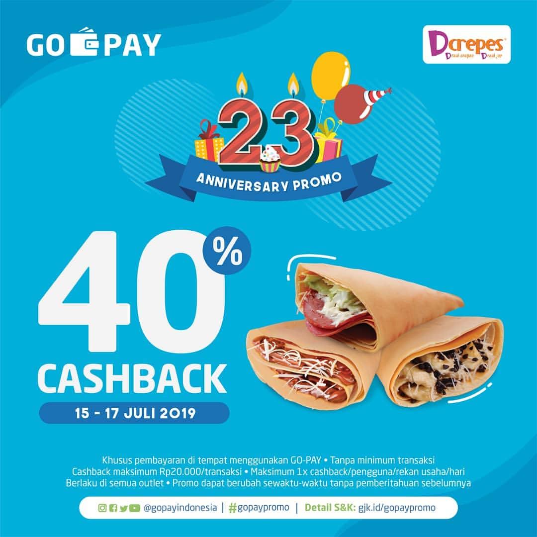 D'CREPES Promo CASHBACK 40% dengan GOPAY